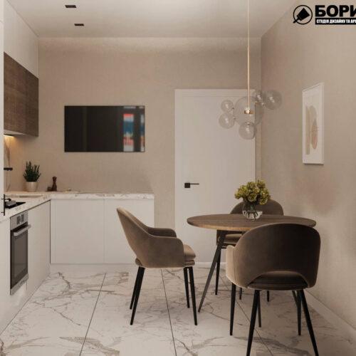 """Дизайн-проекту інтер'єру однокімнатної квартири ЖК """"Левада 2"""", кухня вид на обідню зону"""
