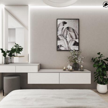 Дизайн інтер'єру двокімнатної квартири ЖК «Пролісок», спальня вид з ліжка