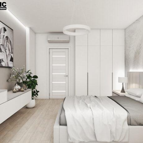 Дизайн інтер'єру двокімнатної квартири ЖК «Пролісок», спальня вид з лівої сторони