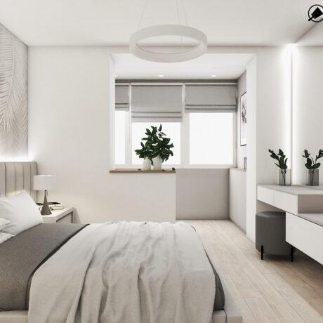 """Дизайн интерьера двухкомнатной квартиры ЖК """"Пролисок"""", спальня вид с правой стороны"""