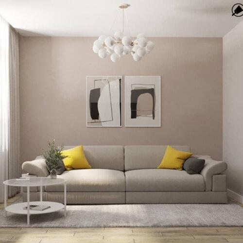 """Дизайн-проекту інтер'єру однокімнатної квартири ЖК """"Левада 2"""" ,вітальня вид на диван"""