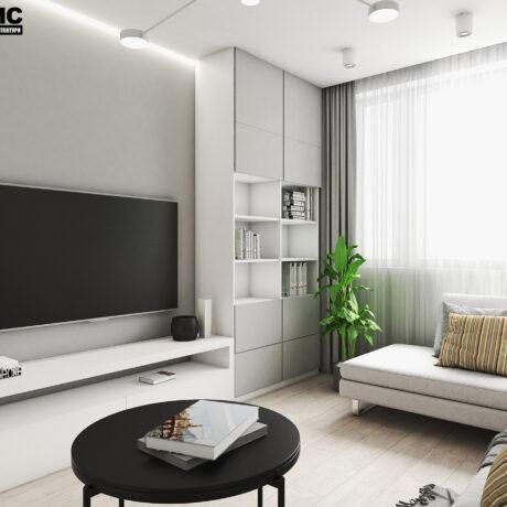 """Дизайн интерьера двухкомнатной квартиры ЖК """"Пролисок"""", гостиная вид под углом"""