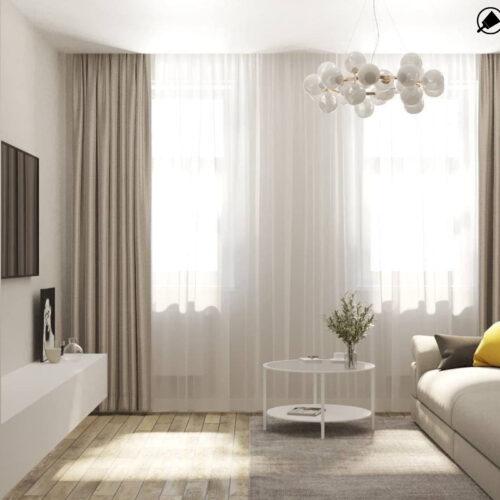 """Дизайн-проекту інтер'єру однокімнатної квартири ЖК """"Левада 2"""", вітальня вид на вікно"""