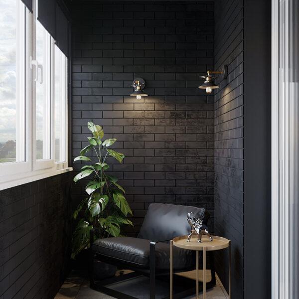 Дизайн-проект интерьера квартиры ЖК «Московский», лоджия вид на кресло