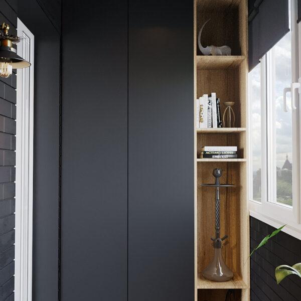 Дизайн-проект интерьера квартиры ЖК «Московский», лоджия вид на полки
