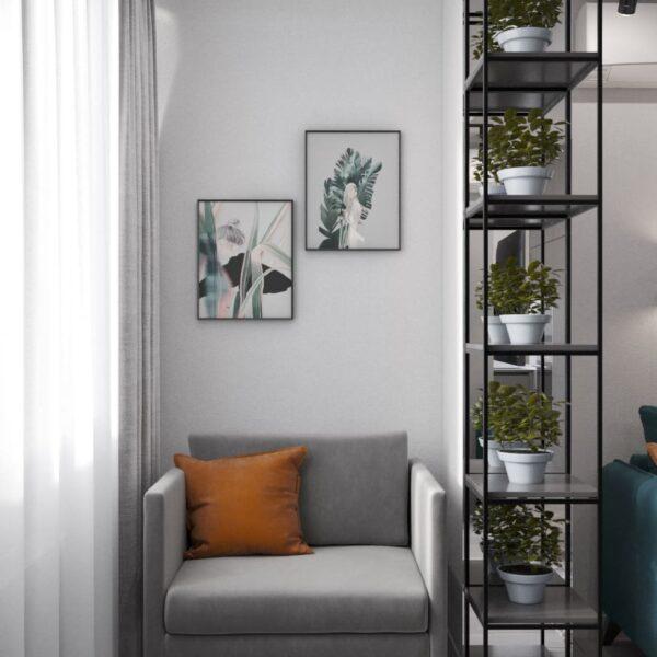 """Дизайн-проект інтер'єру однокімнатної квартири ЖК """"Лазурний"""", кабінет зона відпочинку"""
