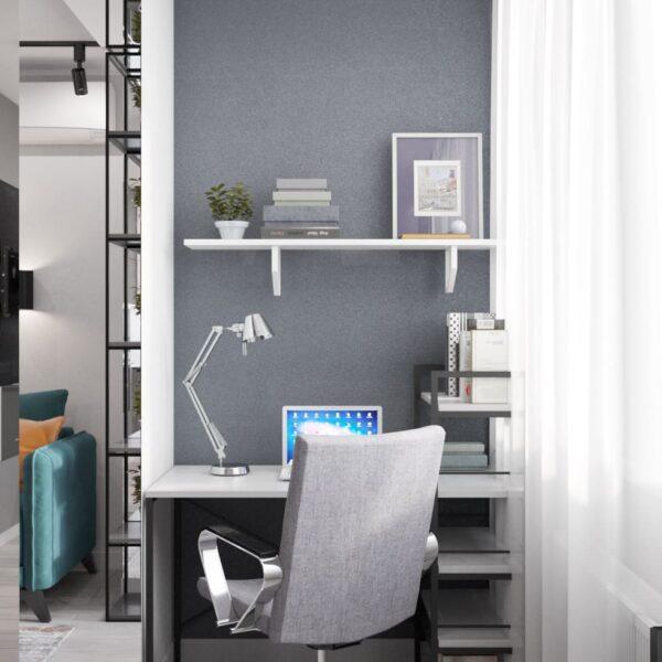"""Дизайн-проект інтер'єру однокімнатної квартири ЖК """"Лазурний"""", кабінет робоча зона"""