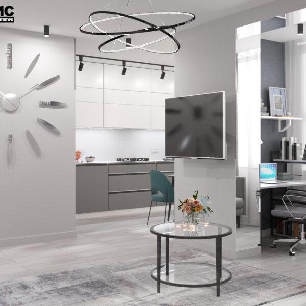 """Дизайн-проект інтер'єру однокімнатної квартири ЖК """"Лазурний"""", вітальня вид в цілому"""