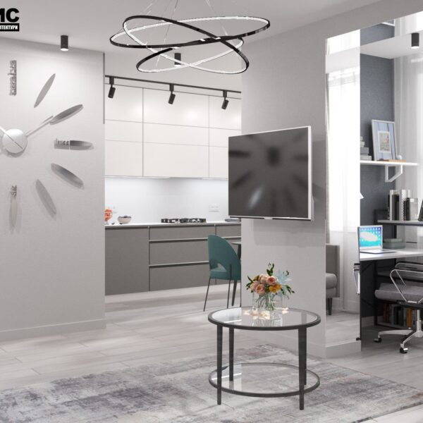 """Дизайн-проект интерьера однокомнатной квартиры ЖК """"Лазурный"""", гостиная вид в целом"""