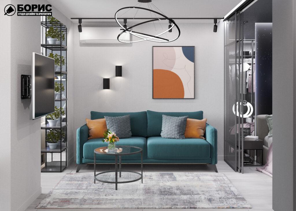 """Дизайн-проект интерьера однокомнатной квартиры ЖК """"Лазурный"""" ,вид в целом"""