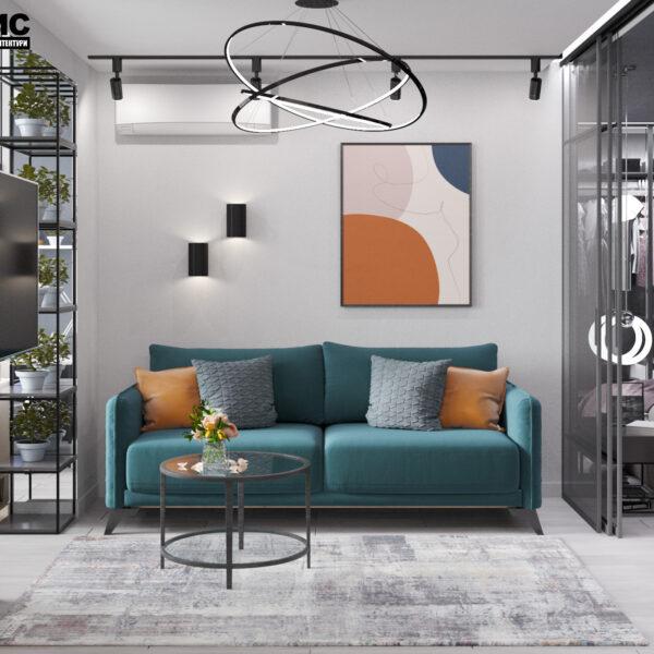 """Дизайн-проект інтер'єру однокімнатної квартири ЖК """"Лазурний"""", вітальня вид по центру"""