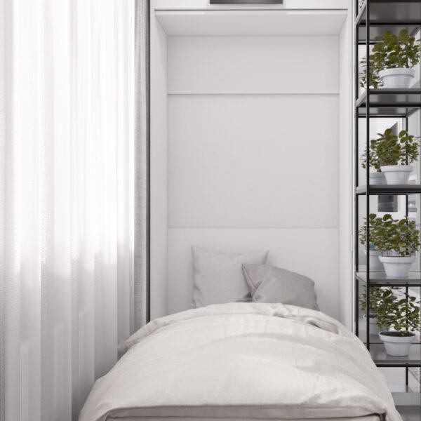 """Дизайн-проект інтер'єру однокімнатної квартири ЖК """"Лазурний"""", спальня вид з розкладеним ліжком"""