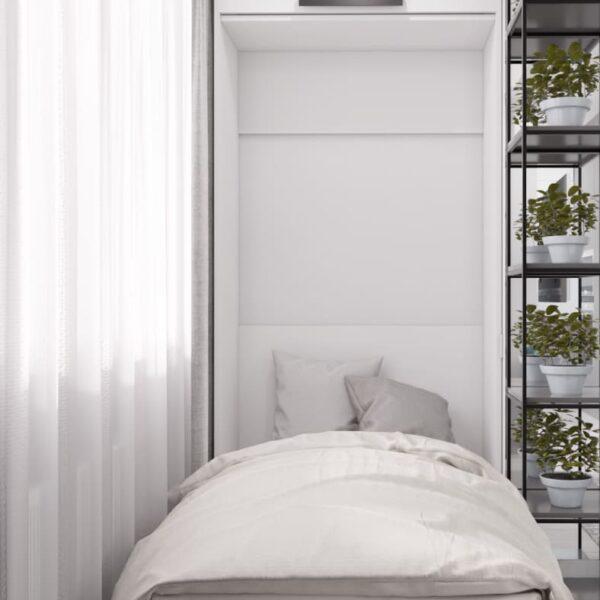 """Дизайн-проект интерьера однокомнатной квартиры ЖК """"Лазурный"""", спальня с разложенной кроватью"""