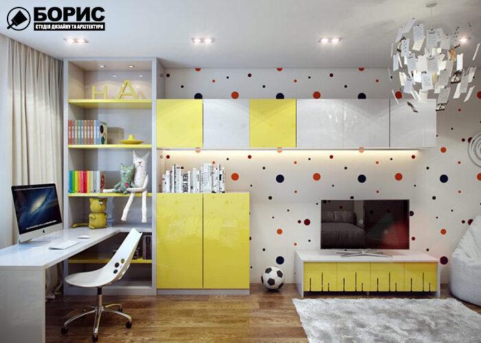 Дизайн дитячої кімнати, в жовтих кольорах