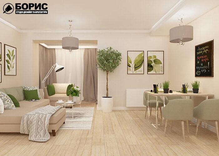 Дизайн інтер'єру двокімнатної квартири, вітальня
