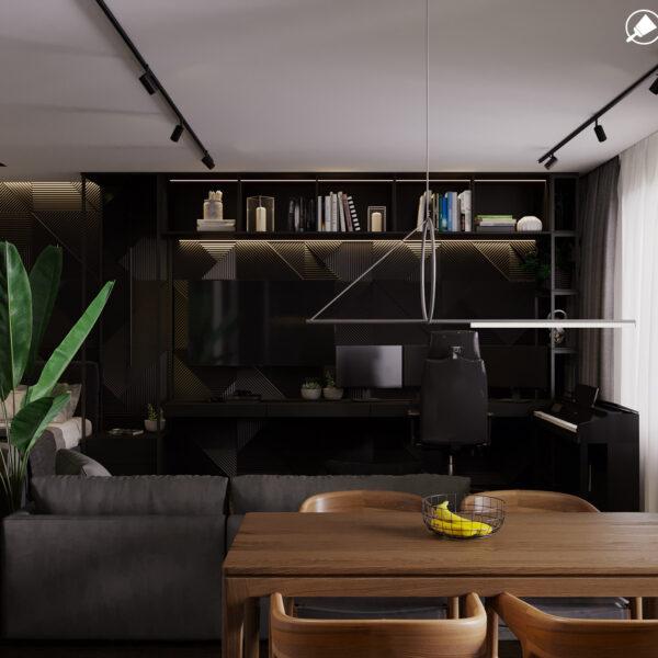 """Дизайн-проект інтер'єра квартири ЖК """"Московський"""", вітальня вид на зону відпочинку"""