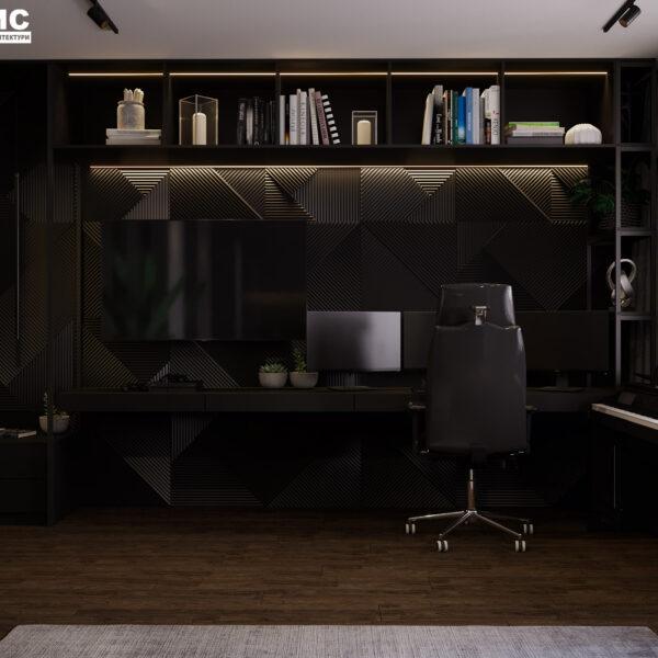 """Дизайн-проект інтер'єра квартири ЖК """"Московський"""", спальня вид на робочу зону"""