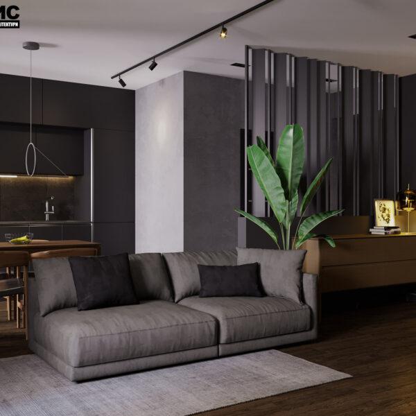 """Дизайн-проект інтер'єра квартири ЖК """"Московський"""", вітальня вид на диван"""