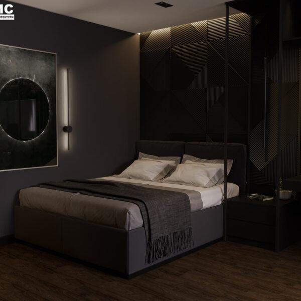 """Дизайн-проект інтер'єра квартири ЖК """"Московський"""", спальня вид на ліжко під кутом"""