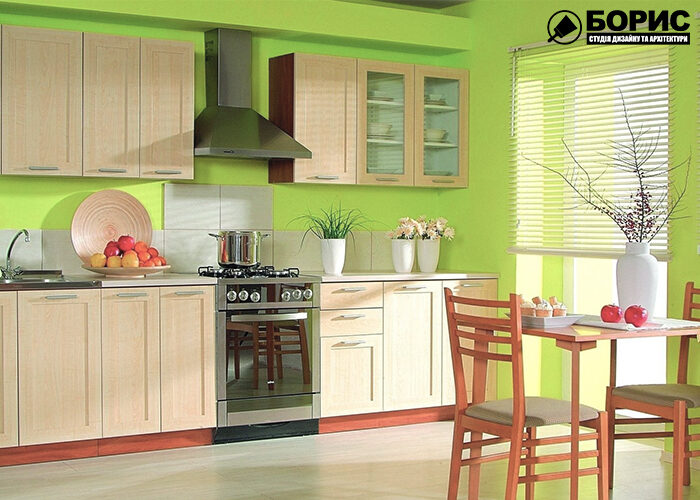 Дизайн кухни и ванной комнаты, кухня в зелёных цветах