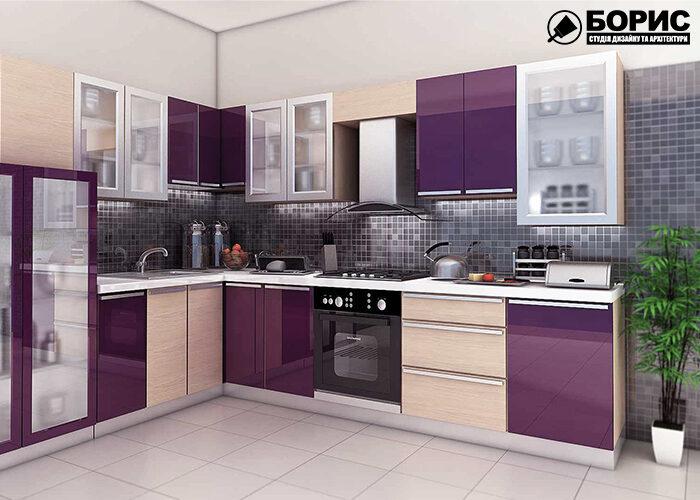 Дизайн кухни и ванной комнаты, кухня в фиолетовых цветах