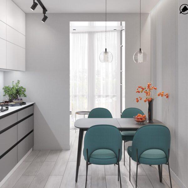 """Дизайн-проект интерьера однокомнатной квартиры ЖК """"Лазурный"""", кухня вид на окно"""