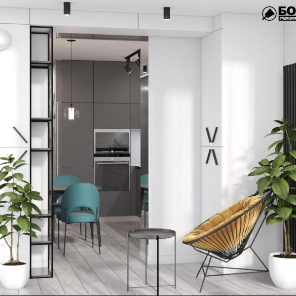 """Дизайн-проект інтер'єру однокімнатної квартири ЖК """"Лазурний"""", лоджія вид в цлому"""