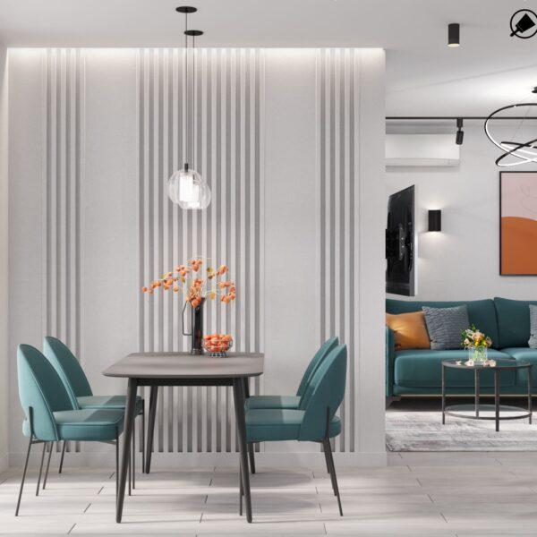 """Дизайн-проект інтер'єру однокімнатної квартири ЖК """"Лазурний"""", кухня вид на обідню зону"""