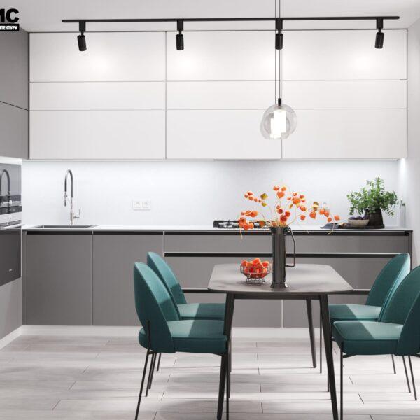 """Дизайн-проект інтер'єру однокімнатної квартири ЖК """"Лазурний"""", кухня вид в цілому"""