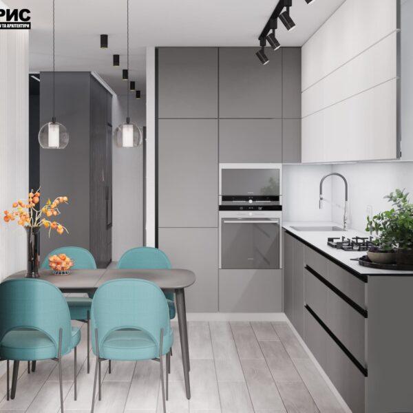 """Дизайн-проект інтер'єру однокімнатної квартири ЖК """"Лазурний"""", кухня обідня і робоча зони"""