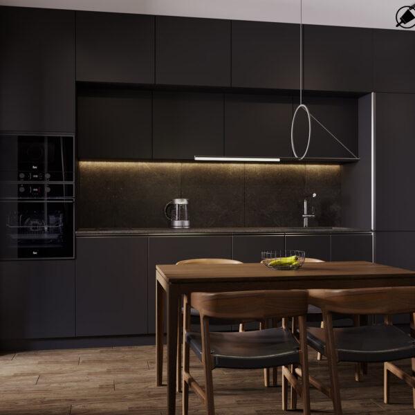 Дизайн-проект интерьера квартиры ЖК «Московский», кухня вид на рабочую зону
