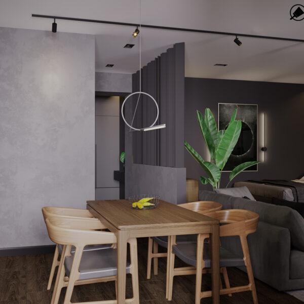 """Дизайн-проект інтер'єра квартири ЖК """"Московський"""", кухня вид на обідній стіл зону"""