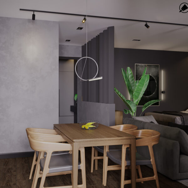 Дизайн-проект интерьера квартиры ЖК «Московский», кухня вид на обеденный стол