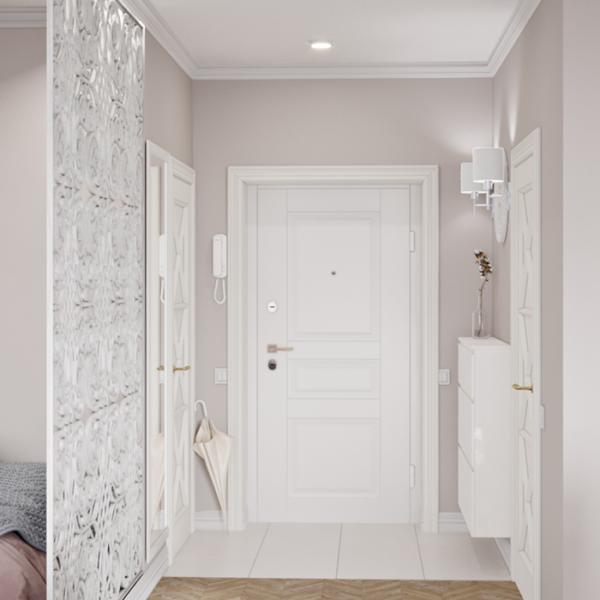 """Дизайн-проект интерьера квартиры ЖК """"Лазурный"""", прихожая вид на коридор"""