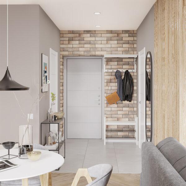 """Дизайн-проект интерьера квартиры-студии ЖК """"Лазурный"""", прихожая вид на коридор"""