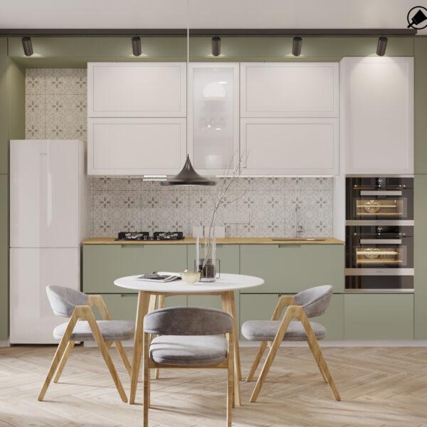 """Дизайн-проект інтер'єру квартири-студії ЖК """"Лазурний"""" , кухня вид в цілому"""