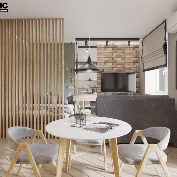 """Дизайн-проект інтер'єру квартири-студії ЖК """"Лазурний"""", кухня вид на обідню зону"""