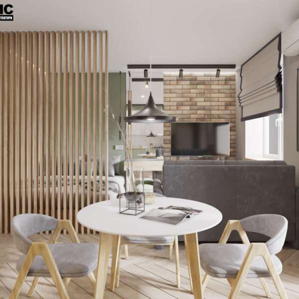 """Дизайн-проект интерьера квартиры-студии ЖК """"Лазурный"""", кухня вид на обеденную зону"""