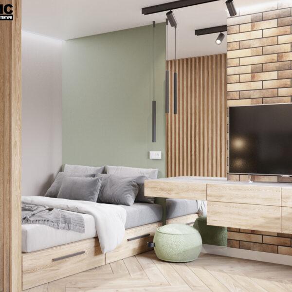 """Дизайн-проект інтер'єру квартири-студії ЖК """"Лазурний"""", спальня вид на розкладений диван"""
