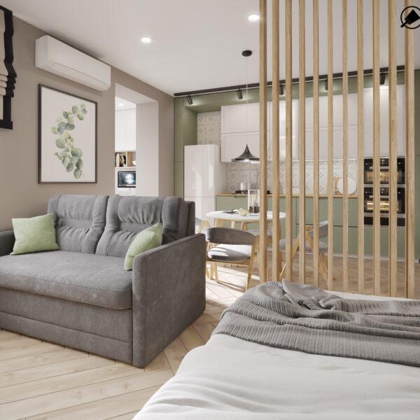 """Дизайн-проект інтер'єру квартири-студії ЖК """"Лазурний"""", спальня вид на складений диван"""