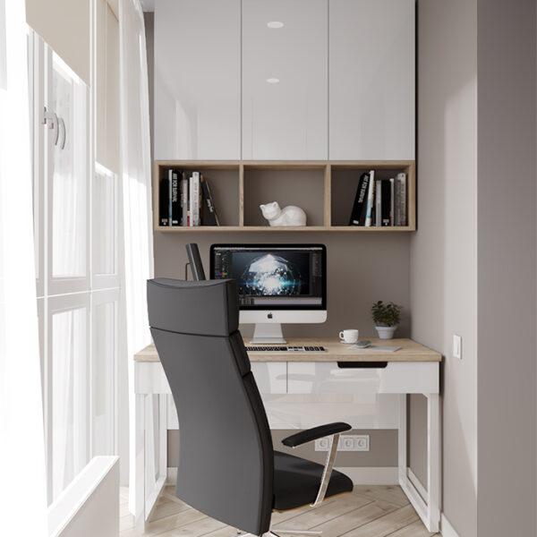 """Дизайн-проект інтер'єру квартири-студії ЖК """"Лазурний"""", лоджія вид на робочу зону"""