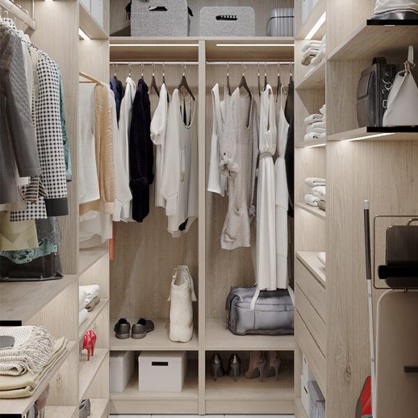 """Дизайн-проект інтер'єру квартири-студії ЖК """"Лазурний"""", гардероб вид п=ліворуч"""