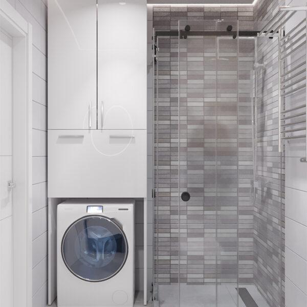 """Дизайн-проект інтер'єру квартири-студії ЖК """"Лазурний"""" ,санвузол вид з зачиненими дверцятами"""