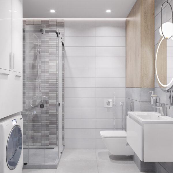 """Дизайн-проект інтер'єру квартири-студії ЖК """"Лазурний"""", санвузол вид на душову"""