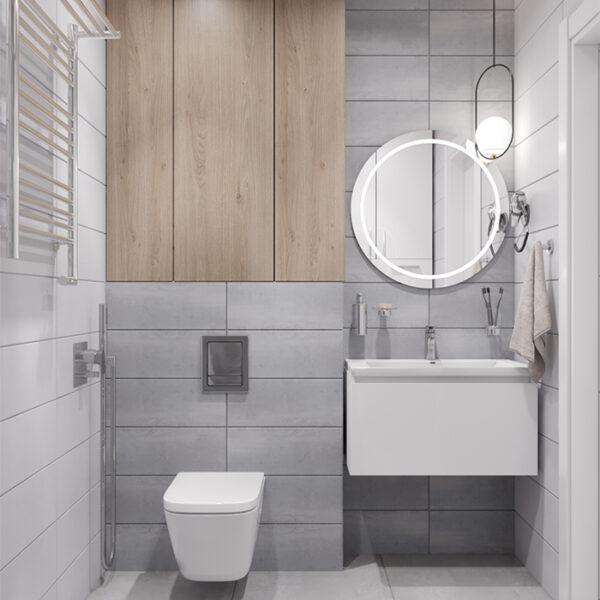 """Дизайн-проект інтер'єру квартири-студії ЖК """"Лазурний"""", санвузол вид на сантехніку"""