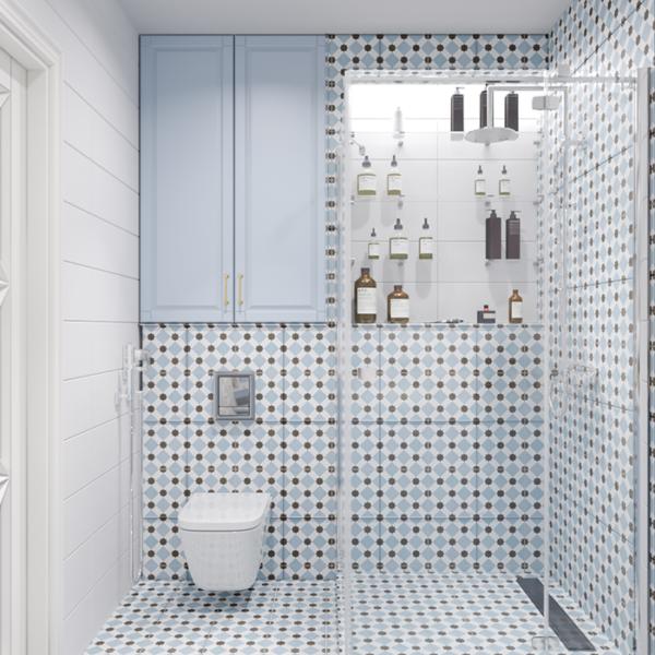"""Дизайн-проект інтер'єру квартири ЖК """"Лазурний"""", санвузол вид на душову під іншим кутом"""