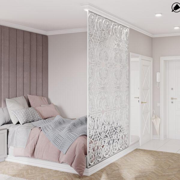 """Дизайн-проект інтер'єру квартири ЖК """"Лазурний"""", студія вид на ліжко під кутом"""