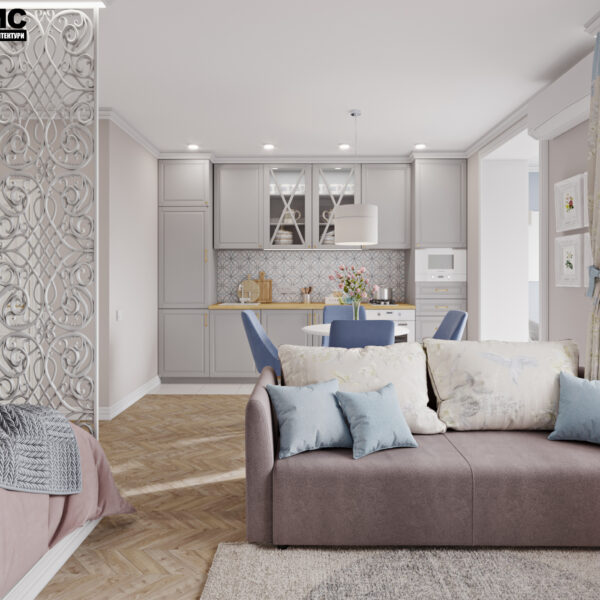 """Дизайн-проект интерьера квартиры ЖК """"Лазурный"""", студия-спальня вид на зону отдыха"""