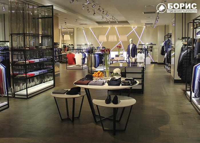 Дизайн інтер'єру магазину, торгового приміщення, бутіка, з великим торгівельним залом
