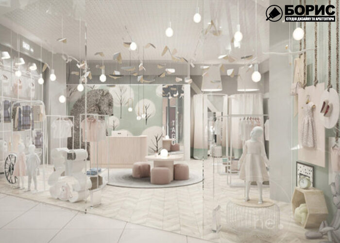 Дизайн интерьера магазина, торгового помещения, бутика, со светлым дизайном интерьера